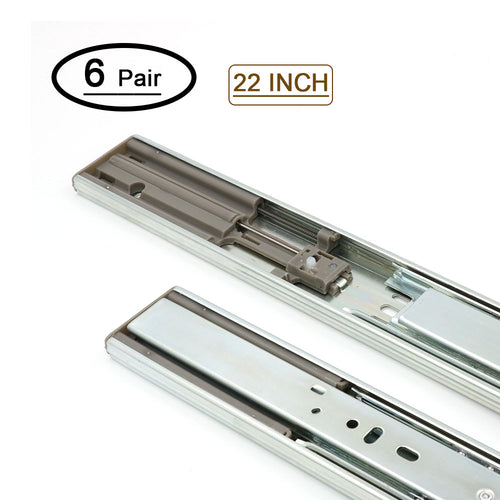 22 inch drawer slides side mount for dresser, soft close (6 pair)
