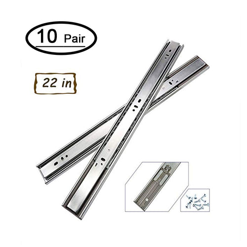22 inch drawer slides with soft close, heavy duty (10 pair)