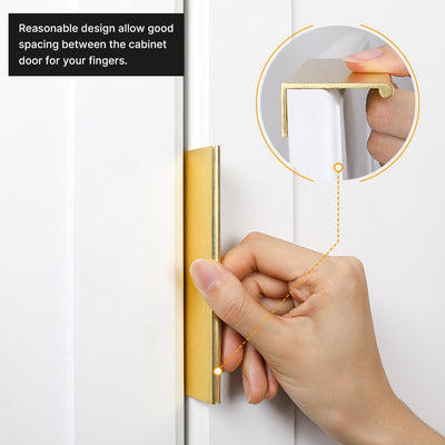 5 Pack Gold Cabinet Tabs Edge Handles Pulls for Kitchen Aluminum Alloy(LS7030GD)