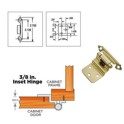 Cabinet Door Hinges Face Mount for Bathroom(20pairs), 38BB