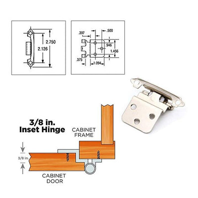Satin Nickel 3/8'' Inset Cabinet Hinges(15 pairs), 38SNB - Goldenwarm