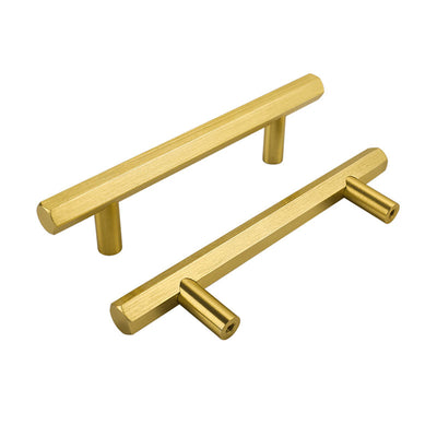 5 Pack Solid Brushed Brass Gold Kitchen Drawer Door Handles (LS7058GD) - Goldenwarm