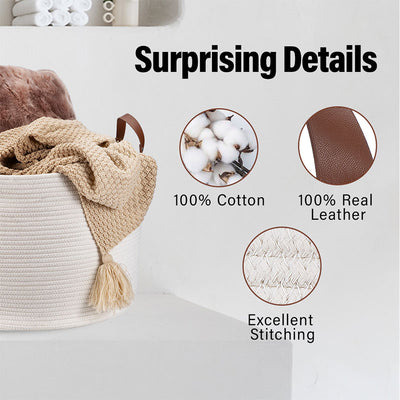 White Round Cotton Rope Laundry Basket With Real Leather Handles, 20''X20''X13''