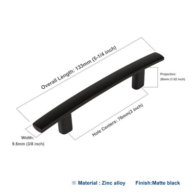 Modern Black Arch Door Pull 3in for Kitchen, Bathroom(10pack), 1003BK