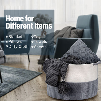 Gray XXL Large Blanket Basket Large Laundry Hamper with Weave Handles, 20''X20''X13'' - Goldenwarm