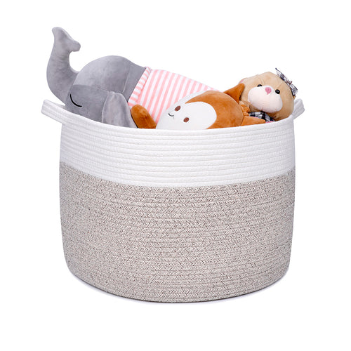 Decorative Round Blanket Basket Collapsible Laundry Hamper for Living Room Towels 20''X20''X13''