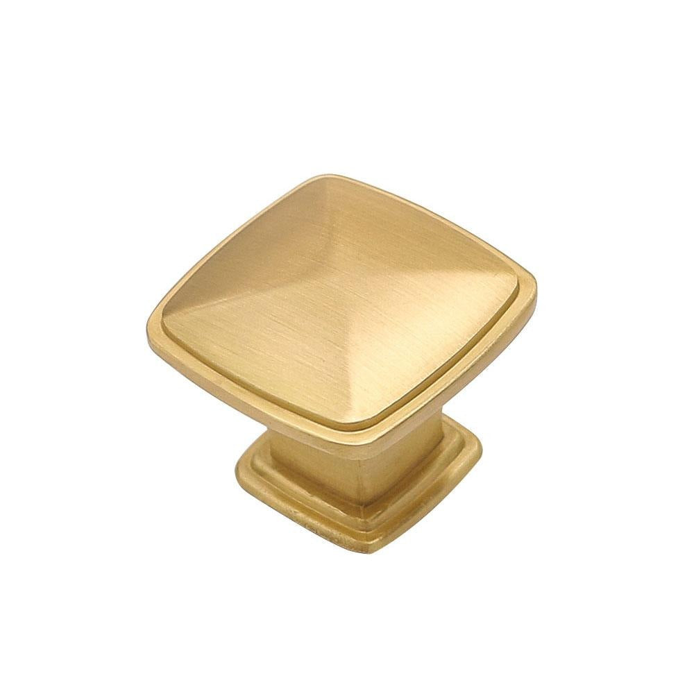 square knobs for cabinets, brushed brass finished