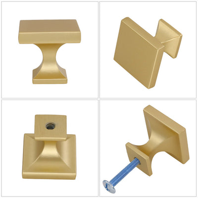 30 Pack 1.1 inch Width Square Drawer Knob Gold For Bathroom(LS6785BB)