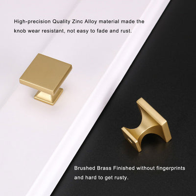 10 Pack Brushed Brass Gold 1.1 inch Square Kitchen Dresser Drawer Knob(LS6785BB)