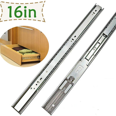 6 Pairs Soft - Close Metal Drawer Slides 16 Inch Full Extension - Goldenwarm