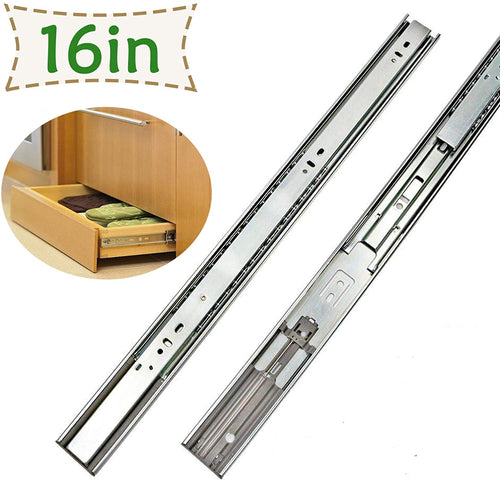 1 Pair Soft Close Metal Drawer Slides 16 Inch Full Extension - Goldenwarm