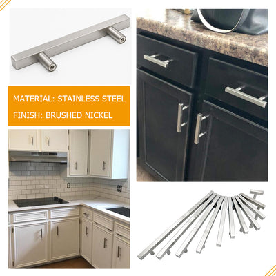 Stainless steel brushed nickel handles for kitchen cabinets 3 inch, LSJ22BSS76