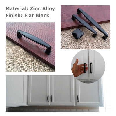 Drawer Door Pulls 3 inch(76mm)Flat Black for Kitchen Furniture, LS8791BK