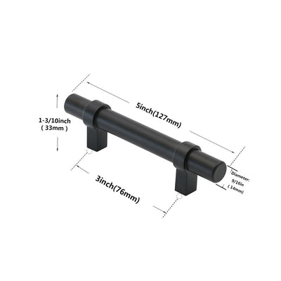 3 inch Drawer Handles Pull Matte Black For Kitchen ( LST16BK) - Goldenwarm
