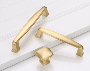 brushed gold kitchen knobs square