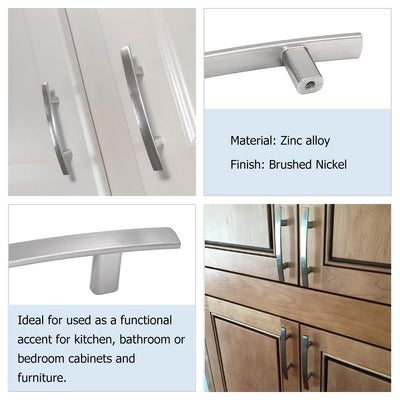 Brushed Nickel Drawer Pulls Curved Subtle (1003BSS) - Goldenwarm