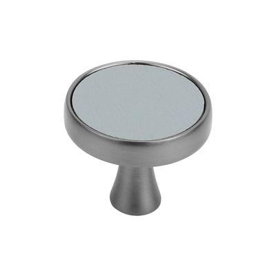 Single Hole Silver Faux Leather Round Cabinet Knobs For Bedroom (LS9214SNB) - Goldenwarm