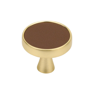 Single Hole Gold Faux Leather Round Cabinet Knobs For White Cabinet(LS9214GD) - Goldenwarm