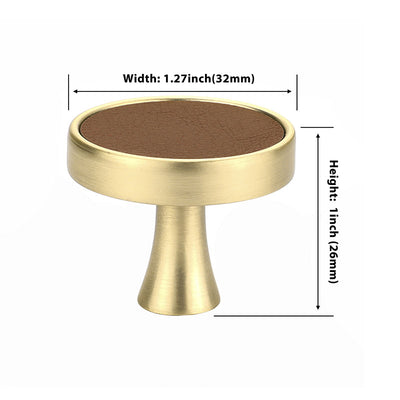 20 pack Brass Gold Leather Oval Cabinet Hardware Handles for Living Room(LS9214GD) - Goldenwarm