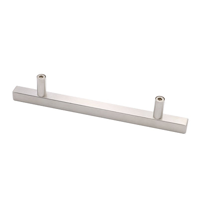 square drawer pulls 5 inch hole spacing brushed nickel (LSJ22BSS128 )