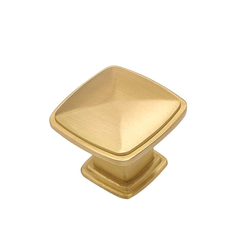 10 pack brushed gold square drawer knobs 1.2inch width (LS8791GD) - Goldenwarm