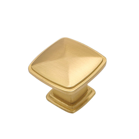 Goldenwarm 10 pack brushed gold square drawer knobs 1.2inch width (LS8791GD)