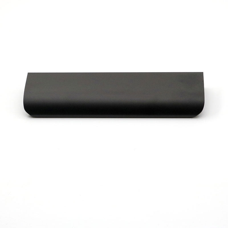 "Long Edge Drawer Pull In Flat Black, 6"" Overall Length"