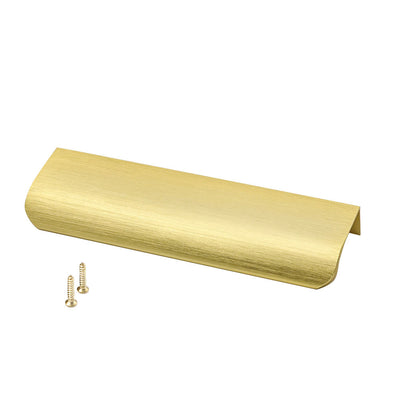 Finger Drawer Pull in Brushed Brass, 5in Hole Spacing