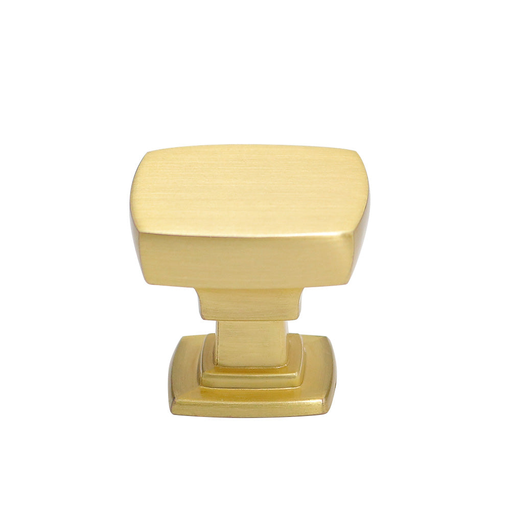30 pack Solid Classic Square Cabinet Knob Brushed Brass(LS9016GD) - Goldenwarm