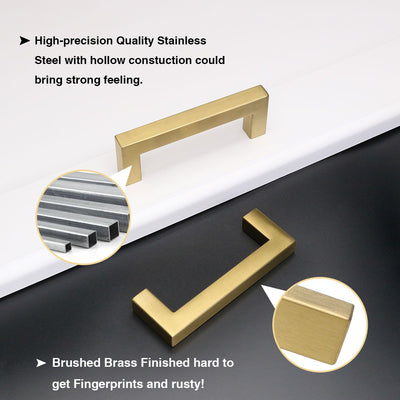4 inch Center to Center Handle Cabinet Pull Brushed Brass (LSJ12GD )
