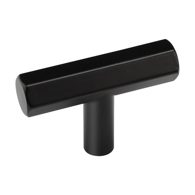 single hole matte black aluminum alloy kitchen cupboard handles(LS7058BK) - Goldenwarm