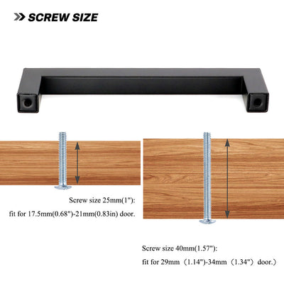 18In center to center black square cabinet pulls (LSJ12BK)