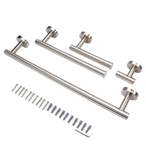 Brushed Nickel Bathroom Hardware Towel Bar Set Wall Mounted