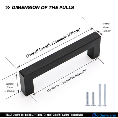 black square cabinet pulls 4 inch center to center (LSJ12BK) - Goldenwarm