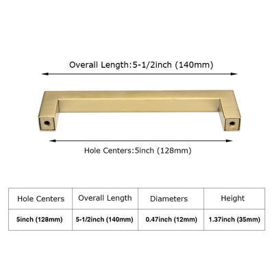 5 inch Center Square Bar Pull Gold Kitchen Cabinet Handles  (LSJ12 )