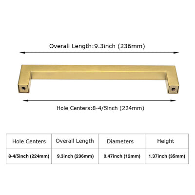 8-4/5 inch Brass Square Kitchen Cabinet Hardware Euro Style (LSJ12GD )