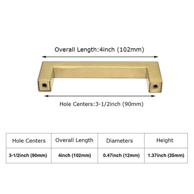 3-1/2 inch (90mm) Gold Kitchen Square Drawer Pull,  Stainless Steel(LSJ12GD ) - Goldenwarm