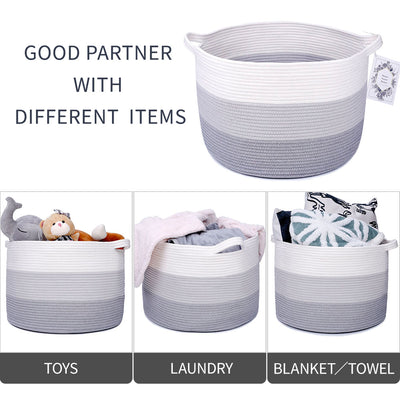 Woven Storage Baskets Large 3-Toned Round Laundry Hamper with Handles 20''X20''X13''