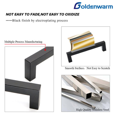 6-1/4 Inch Center to Center Square Black Bar Cabinet Pull (LSJ12Bk ) - Goldenwarm