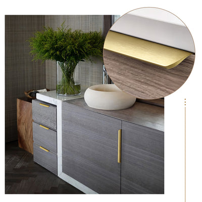 10 Pieces Gold Edge Pull Handle In Brushed Brass Cabinet Gold Hardware(LS7027GD) - Goldenwarm