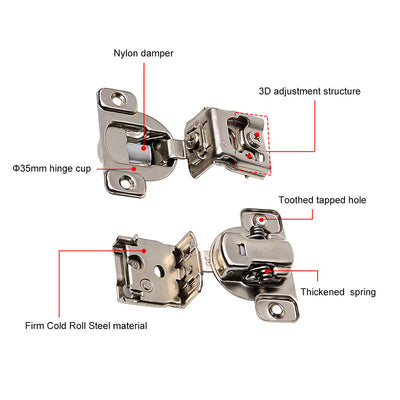 satin nickel self closing door hinges face mount, 105° Opening (10pack ) - Goldenwarm