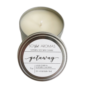 Getaway Travel Tin Candle by Soyful Aromas sold by Evergreen Gift Basket Company