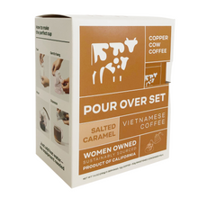 Load image into Gallery viewer, Copper Cow Coffee Salted Caramel Latte Evergreen Gift Basket Co