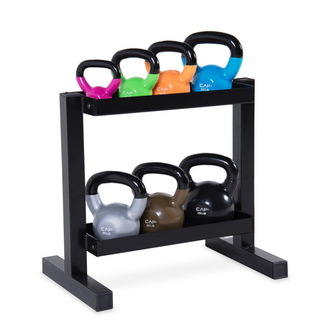 Cap Vinyl Dipped Kettlebell Set with Rack, 140lb