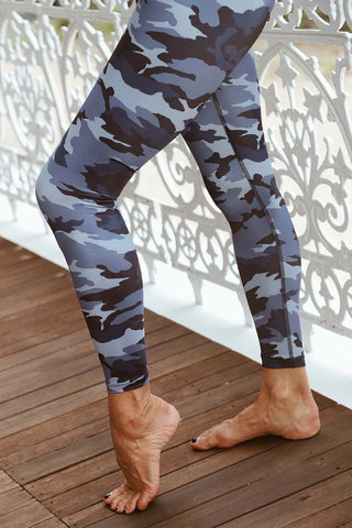 Lux Blue Camo High Waisted Midi Legging - Kabana Shop