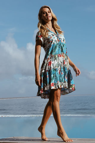 Dulcie Tier Dress Ocean - Kabana Shop