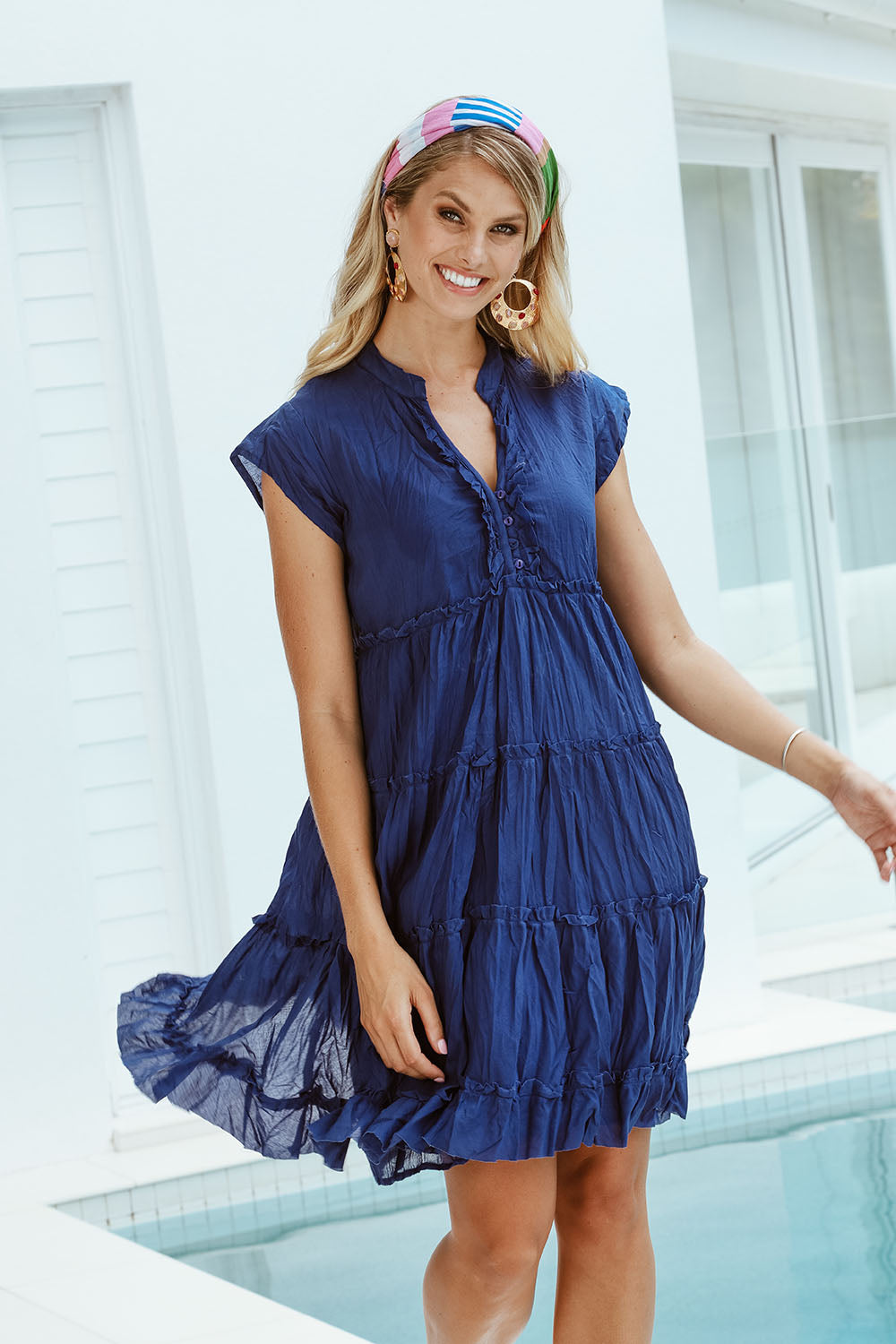 Gwen Tier Dress Navy - Kabana Shop