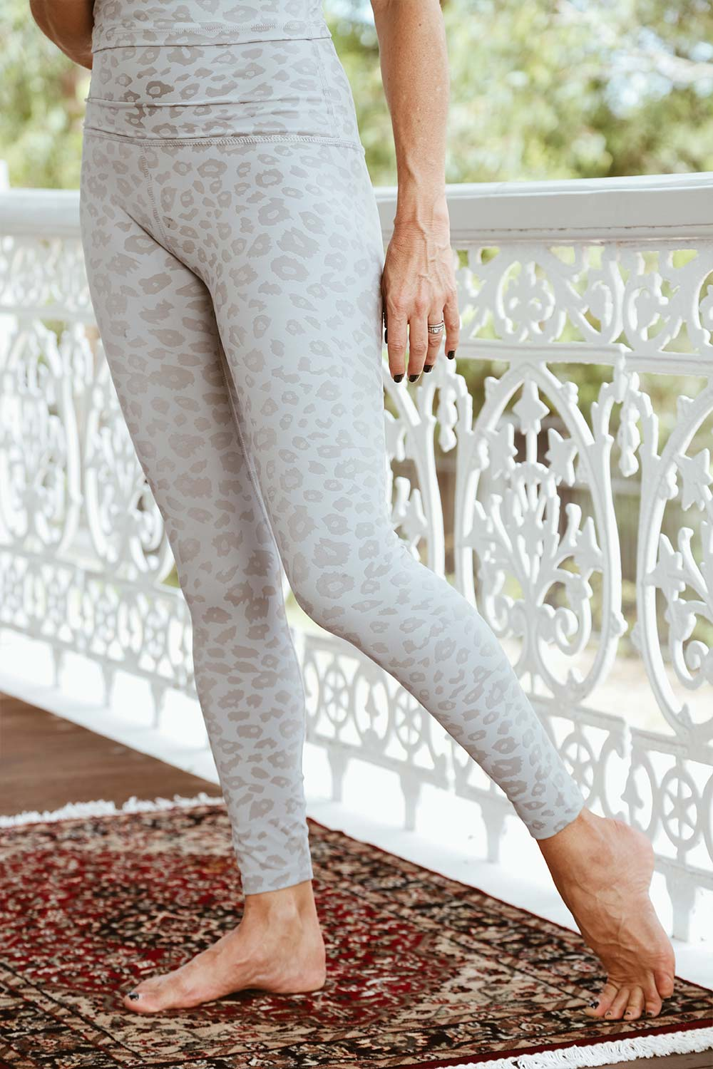 Leopard Jacquard High Waisted Midi Legging - Grey - Kabana Shop