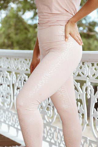 Shiny Leopard High Waisted Midi Legging - Tinted Rose - Kabana Shop