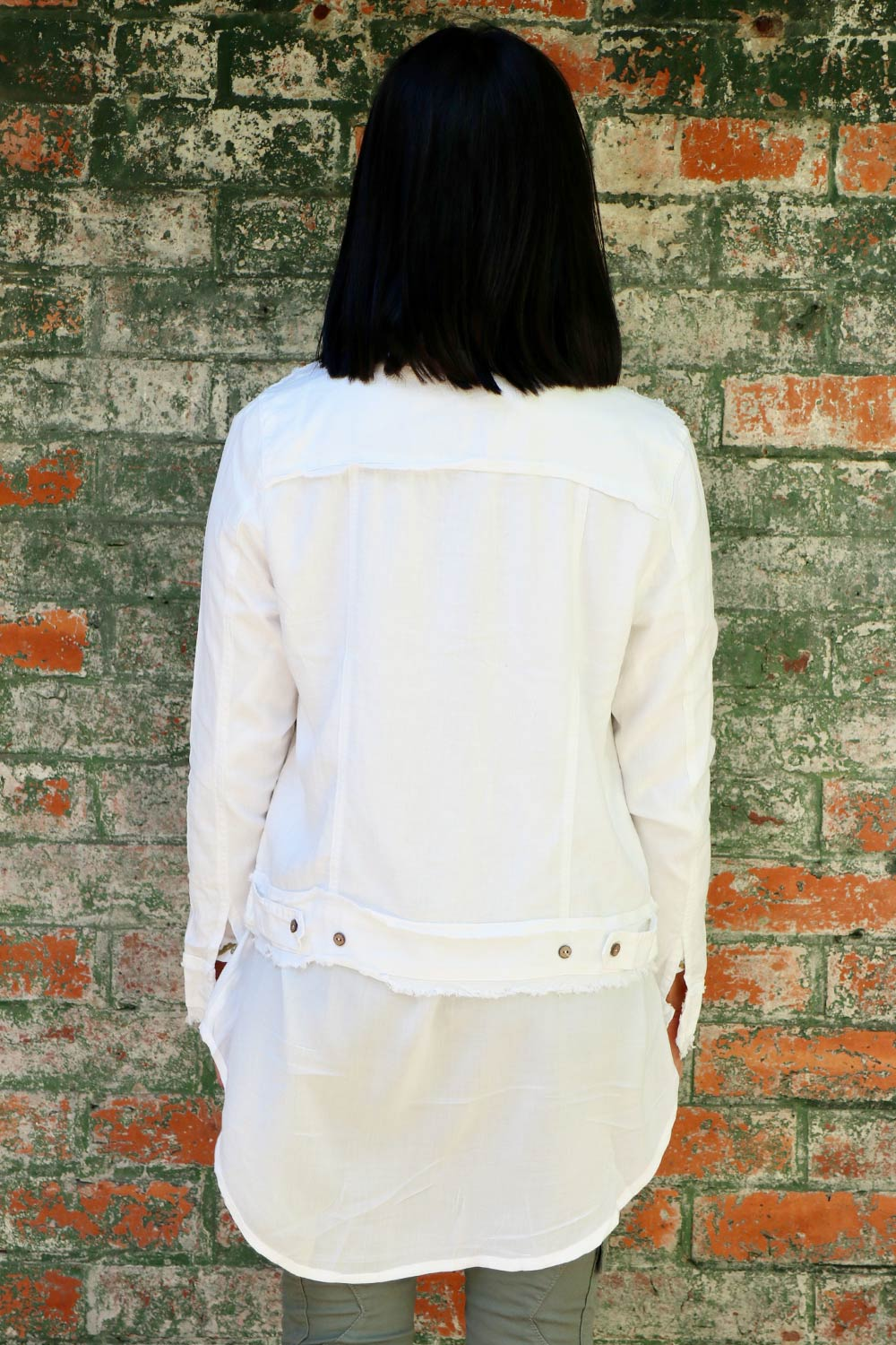 Clara Linen Jacket White - Kabana Shop